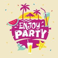 Genießen Sie Party Phrase. Sommer-Zitat vektor