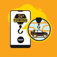 Online Pannenhilfe, Abschleppdienst Mobile App-Konzept