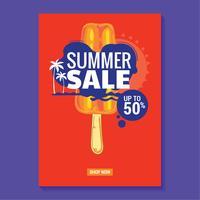 Sommarförsäljning Illustration med strand och tropiska lövbakgrund. Bra för försäljning affisch