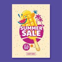 Sommarförsäljning Illustration med popsikel, strand och tropisk löv bakgrund
