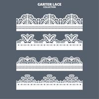 Set Garter Lace Ornament för broderi, skärpapper och laserskärning vektor