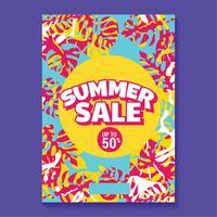 Sommerschlussverkauf-Illustration mit Strand und tropischem Blatt-Hintergrund vektor