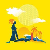 Schöne Frau am Strand bräunen. Sommerferien