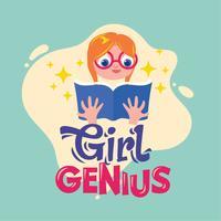 Mädchen-Genie-Phrasen-Illustration. Zurück zu Schulzitat