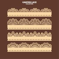 Set Garter Lace Ornament för Broderi och Laser Cut vektor