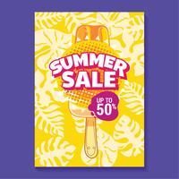 Sommerschlussverkauf-Illustration mit Eis am Stiel, Strand und tropischem Blatt-Hintergrund vektor
