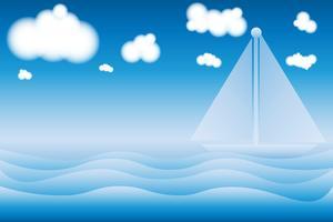 Mit einem Segelbootansichtsommerstrand und einem Seehintergrund vektor