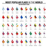 Sammlung von Schreibtischfahnen, die beliebtesten Flaggen der Welt vektor