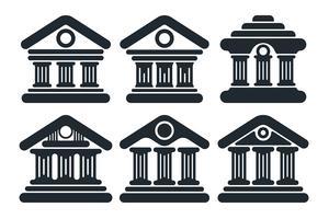 Flat bankbyggnad fasad ikon vektor