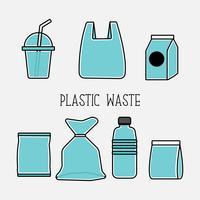 Plastikabfallkarikatur-Vektorillustration.