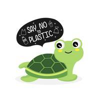 Schildkröte sagt nein zu Plastik. Plastikverschmutzung im Ozeanumweltproblem. vektor
