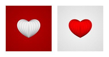 Röda och vita pappershjärtan