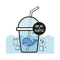 Netter Wal lehnen Plastik, ökologische Plakatkonzeptkarikatur ab.