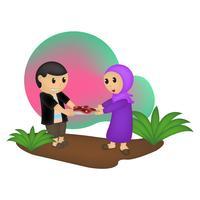 Eid Mubarak Charakter Abbildung vektor