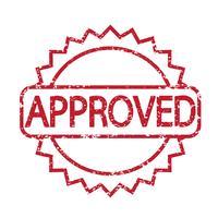 frimärke godkänd med röd text