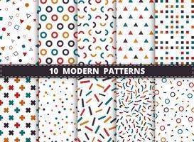 Abstrakt färgglada moderna geometriska mönster som sätts på vit bakgrund. Dekorera för stil med geometrisk design konstverk, annons, inslagning, tryck.