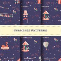 Set av tecknade nöjesfält sömlösa mönster