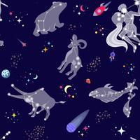 Seamless mönster med comstellations och stjärnor. Vektor illustration tecknad stil