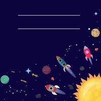 Tecknad sci fi utrymme bakgrund. Vektor illustration