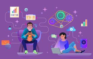 Teamwork-Vektorillustration, -mann und -frau, die Daten bezüglich des Smartphone und des Notizbuches verarbeiten