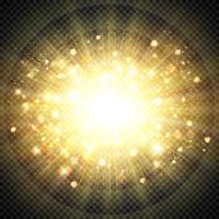 Abstrakt effekt gyllene solljus för solstrålande glittrande element. illustration vektor eps10