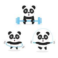 Lustige Pandas, die Übung tun. vektor