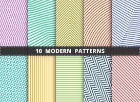 Abstrakt modernt mönster av färgstarka randlinjens uppsättning bakgrund. Dekorerar för inslagning, annons, affisch, konstverk design. vektor