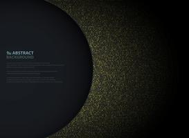 Abstrakt gyllene cirkel glitters mönster design med vänster cirkel mörk bakgrund av kopia utrymme. Dekorerar i pappersskuren presentation, annons, affisch, konstverk.