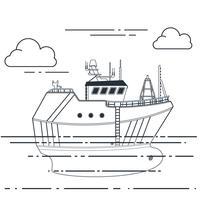 Fiskefartyg i havet. Vektor skiss illustration