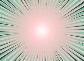 Abstrakte Sonne sprengte Hintergrundweinlese des Halbtonmusterdesigns. Grüne und lebende Korallenfarben mit einem Highlight aus Comicstreifen. Vektor eps10