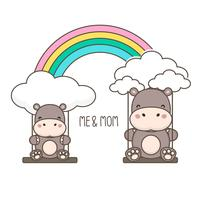 Flusspferd und Baby schwingen auf einem Regenbogen. vektor