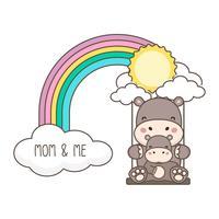 Hippo och baby swing på en regnbåge. Mors dag kort vektor illustration.