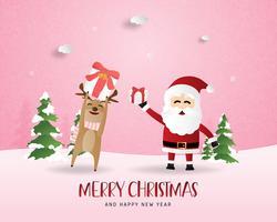 Grußkarte der frohen Weihnachten und des guten Rutsch ins Neue Jahr im Papierschnittstil. Vector Illustration Weihnachtsfeierhintergrund mit glücklichem Ren und Sankt. Banner, Flyer, Poster, Wallpaper, Vorlage.