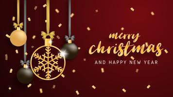 Grußkarte der frohen Weihnachten und des guten Rutsch ins Neue Jahr im Papierschnitt-Arthintergrund. Vektor-Illustration Weihnachtsfeier Dekoration auf rotem Hintergrund. banner, flyer, poster, hintergrundbild, vorlage.