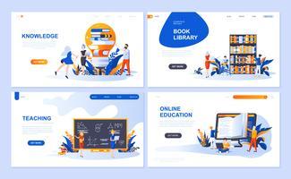 Set med målsida mall för utbildning, kunskap, bokbibliotek, undervisning. Modern vektor illustration platt koncept dekorerade människor karaktär för webbplats och mobil webbutveckling.