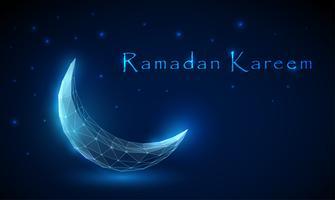 Låg poly abstrakt halvmåne. Ramadan Kareem bakgrund vektor