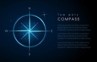 Abstrakt kompassikon. Låg polystyle design