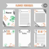 Kort och symboler för organiserade du planerare. Printables med tarvelelement. Eiffeltornet design. Vektor mall för bärbara datorer