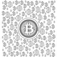 Bitcoin Lineart Mönster vektor