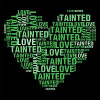 Tainted Love Green Heart Wordcloud Vektor illustration