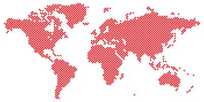 Stor Tetragon världskarta vektor röd på vit