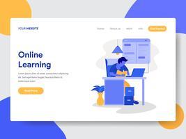 Målsida mall för Online Learning Illustration Concept. Modernt plattdesignkoncept av webbdesign för webbplats och mobilwebbplats. Vektorns illustration
