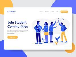 Målsidans mall för Student Community Illustration Concept. Modernt plattdesignkoncept av webbdesign för webbplats och mobilwebbplats. Vektorns illustration