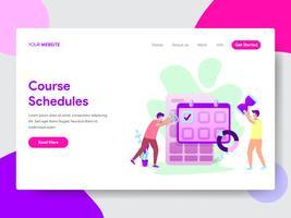 Målsida mall för Student Course Schedule Illustration Concept. Modernt plattdesignkoncept av webbdesign för webbplats och mobilwebbplats. Vektorns illustration vektor
