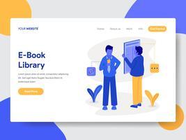 Målsida mall för E-Book Library Illustration Concept. Modernt plattdesignkoncept av webbdesign för webbplats och mobilwebbplats. Vektorns illustration