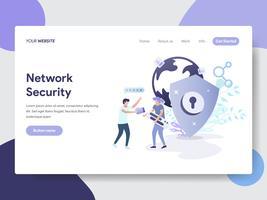 Målsida mall för Network Security Illustration Concept. Modernt plattdesignkoncept av webbdesign för webbplats och mobilwebbplats. Vektorns illustration