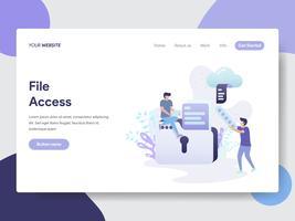 Målsida mall för File Access Illustration Concept. Modernt plattdesignkoncept av webbdesign för webbplats och mobilwebbplats. Vektorns illustration