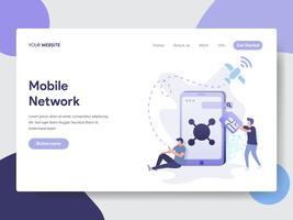 Målsida mall för Mobile Network Illustration Concept. Modernt plattdesignkoncept av webbdesign för webbplats och mobilwebbplats. Vektorns illustration