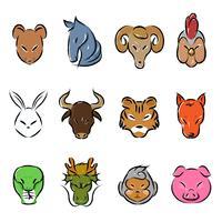 djur zodiac ikon vektor