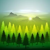 grön skog med snö vektor
